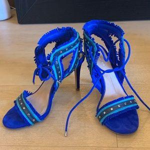 Blue suede party heels